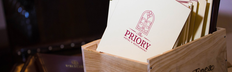 A menu for The Priory Restaurant